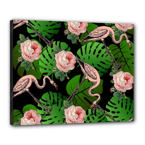 Flamingo Floral Black Canvas 20  X 16  by snowwhitegirl