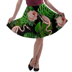 Flamingo Floral Black A-line Skater Skirt by snowwhitegirl