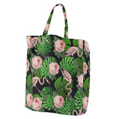 Flamingo Floral Black Giant Grocery Tote by snowwhitegirl