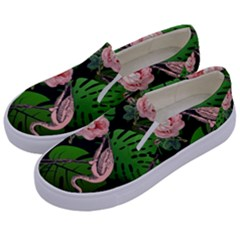 Flamingo Floral Black Kids  Canvas Slip Ons by snowwhitegirl