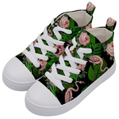 Flamingo Floral Black Kid s Mid Top Canvas Sneakers by snowwhitegirl