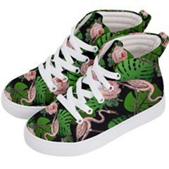 Flamingo Floral Black Kid s Hi Top Skate Sneakers by snowwhitegirl