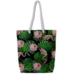 Flamingo Floral Black Full Print Rope Handle Tote (small) by snowwhitegirl