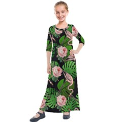 Flamingo Floral Black Kids  Quarter Sleeve Maxi Dress by snowwhitegirl