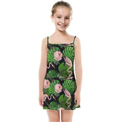 Flamingo Floral Black Kids Summer Sun Dress by snowwhitegirl