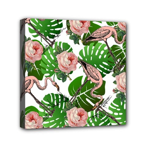 Flamingo Floral White Mini Canvas 6  X 6  by snowwhitegirl