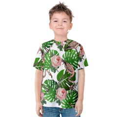 Flamingo Floral White Kids  Cotton Tee