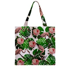 Flamingo Floral White Zipper Grocery Tote Bag by snowwhitegirl