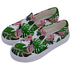 Flamingo Floral White Kids  Canvas Slip Ons by snowwhitegirl