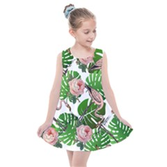 Flamingo Floral White Kids  Summer Dress by snowwhitegirl
