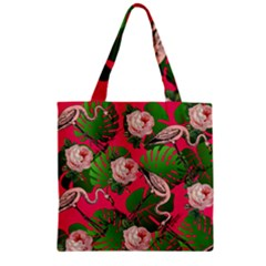 Flamingo Floral Pink Zipper Grocery Tote Bag by snowwhitegirl