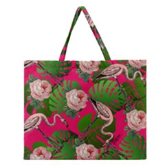 Flamingo Floral Pink Zipper Large Tote Bag by snowwhitegirl