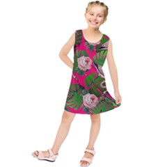 Flamingo Floral Pink Kids  Tunic Dress by snowwhitegirl