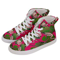 Flamingo Floral Pink Women s Hi Top Skate Sneakers by snowwhitegirl