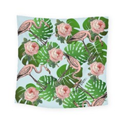 Flamingo Floral Blue Square Tapestry (small) by snowwhitegirl