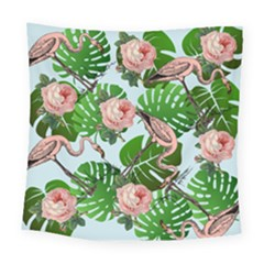 Flamingo Floral Blue Square Tapestry (large) by snowwhitegirl