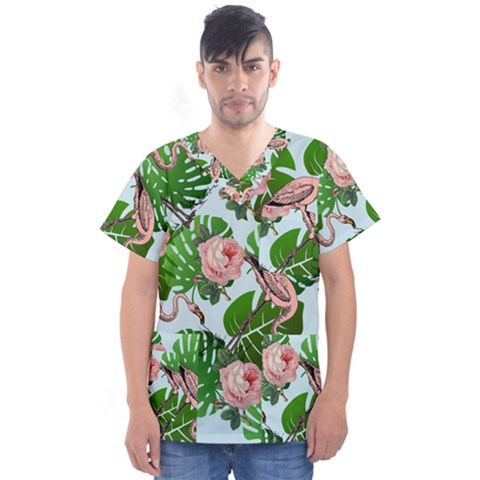 Flamingo Floral Blue Men s V-neck Scrub Top by snowwhitegirl