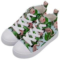 Flamingo Floral Blue Kid s Mid Top Canvas Sneakers by snowwhitegirl