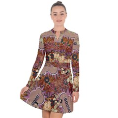 Pinup Floral Long Sleeve Panel Dress