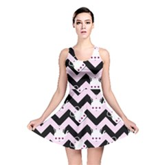 Pink Teapot Chevron Reversible Skater Dress
