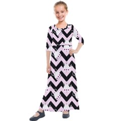 Pink Teapot Chevron Kids  Quarter Sleeve Maxi Dress by snowwhitegirl