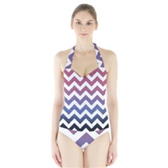 Pink Blue Black Ombre Chevron Halter Swimsuit