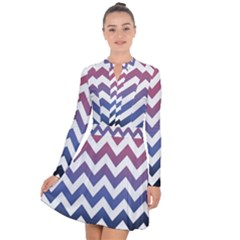 Pink Blue Black Ombre Chevron Long Sleeve Panel Dress