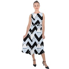 Blue Teapot Chevron Midi Tie Back Chiffon Dress