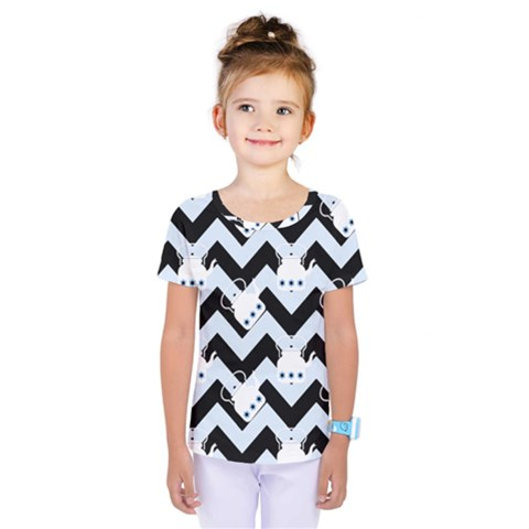 Blue Teapot Chevron Kids  One Piece Tee by snowwhitegirl
