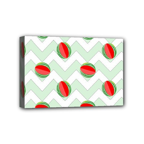 Watermelon Chevron Green Mini Canvas 6  X 4  by snowwhitegirl