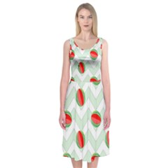 Watermelon Chevron Green Midi Sleeveless Dress by snowwhitegirl