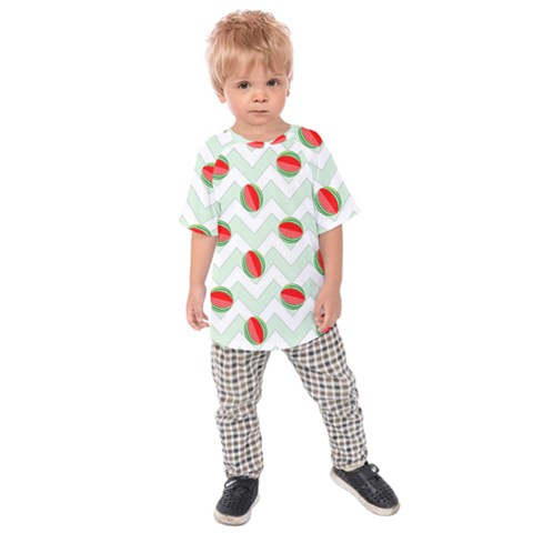 Watermelon Chevron Green Kids Raglan Tee by snowwhitegirl