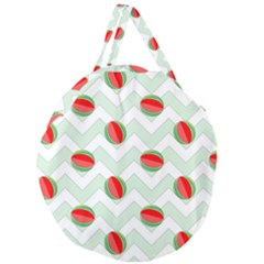 Watermelon Chevron Green Giant Round Zipper Tote by snowwhitegirl