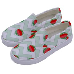 Watermelon Chevron Green Kids  Canvas Slip Ons by snowwhitegirl