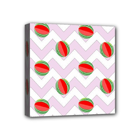 Watermelon Chevron Mini Canvas 4  x 4