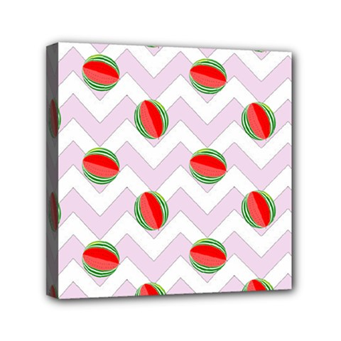 Watermelon Chevron Mini Canvas 6  x 6
