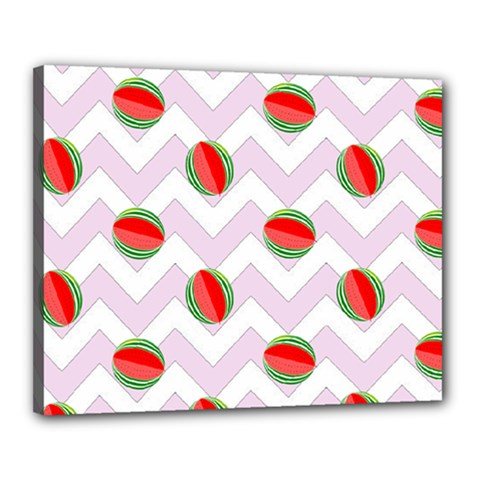 Watermelon Chevron Canvas 20  x 16