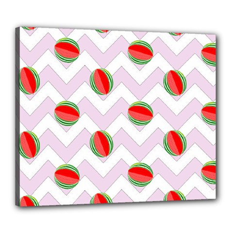 Watermelon Chevron Canvas 24  x 20