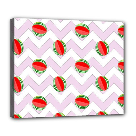 Watermelon Chevron Deluxe Canvas 24  x 20