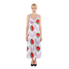Watermelon Chevron Sleeveless Maxi Dress