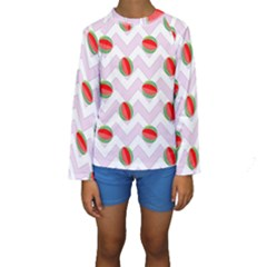 Watermelon Chevron Kids  Long Sleeve Swimwear