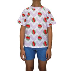 Watermelon Chevron Kids  Short Sleeve Swimwear