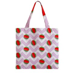 Watermelon Chevron Grocery Tote Bag