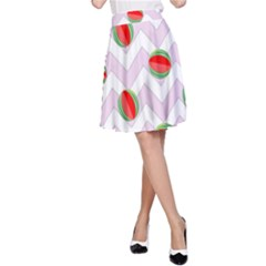 Watermelon Chevron A-Line Skirt