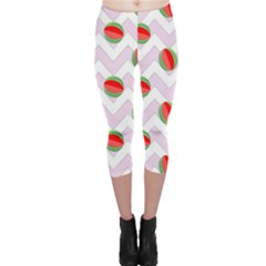 Watermelon Chevron Capri Leggings