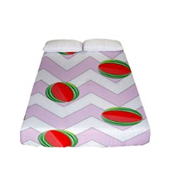 Watermelon Chevron Fitted Sheet (Full/ Double Size)