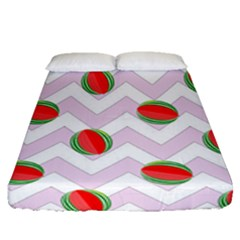 Watermelon Chevron Fitted Sheet (Queen Size)