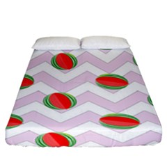 Watermelon Chevron Fitted Sheet (King Size)