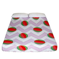 Watermelon Chevron Fitted Sheet (California King Size)