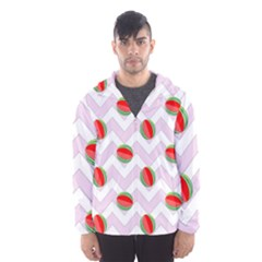 Watermelon Chevron Hooded Windbreaker (Men)